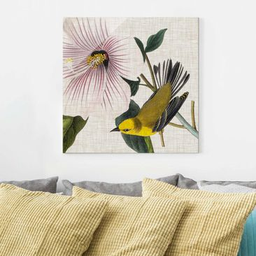 Product picture Print on Glass - Bird On Linen Yellow I...