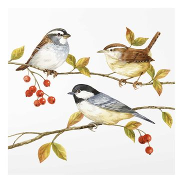 Product picture Print on Glass - Birds And Berries -...