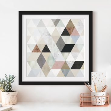 Product picture Framed print - Watercolor Mosaic With...