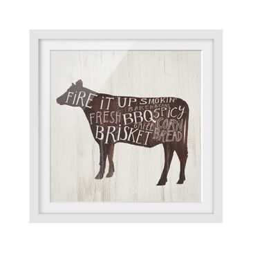 Product picture Framed print - Farm BBQ - Cow - Square...