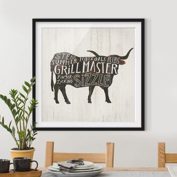 Product picture Framed print - Farm BBQ - Beef - Square...