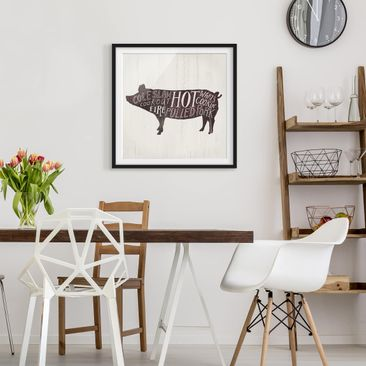 Product picture Framed print - Farm BBQ - Pig - Square...