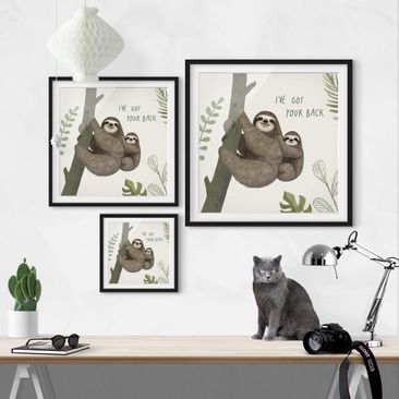 Product picture Framed print - Sloth Sayings - Back -...