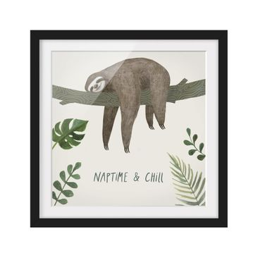 Product picture Framed print - Sloth Sayings - Chill -...