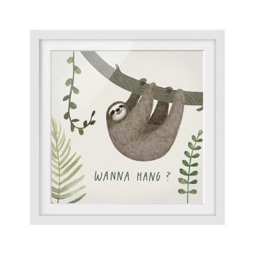 Product picture Framed print - Sloth Sayings - Hang -...