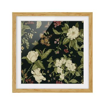 Product picture Framed print - Garden Flowers On Black I...