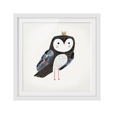 Product picture Framed print - Crowned Owl Dark - Square...