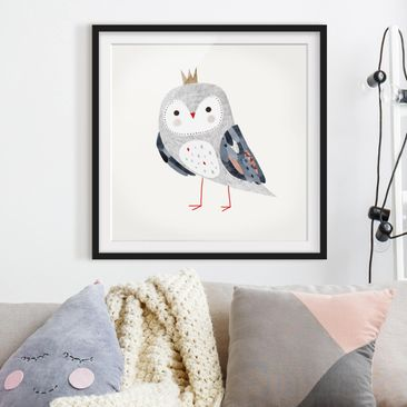 Product picture Framed print - Crowned Owl Light -...