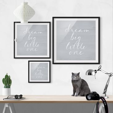 Product picture Framed print - Wooden Wall Gray - Dream...
