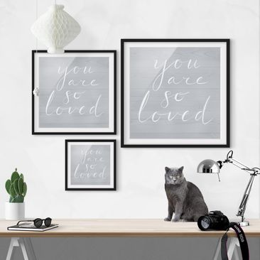 Product picture Framed print - Wooden Wall Gray - Loved...