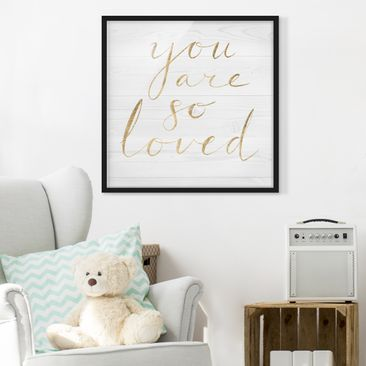 Product picture Framed print - Wooden Wall White - Loved...