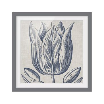 Product picture Framed print - Indigo Blossom On Linen...