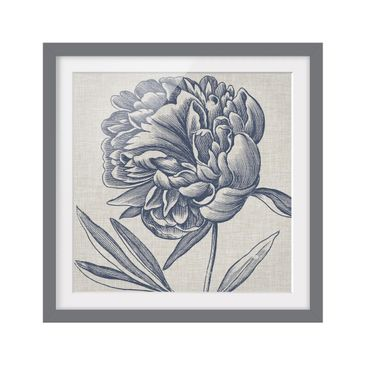 Product picture Framed print - Indigo Blossom On Linen I...