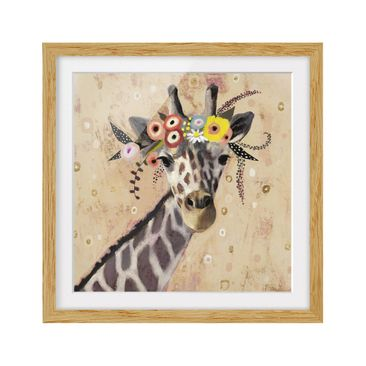 Product picture Framed print - Klimt Giraffe - Square...