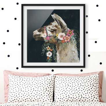 Product picture Framed print - Lama With Floral...