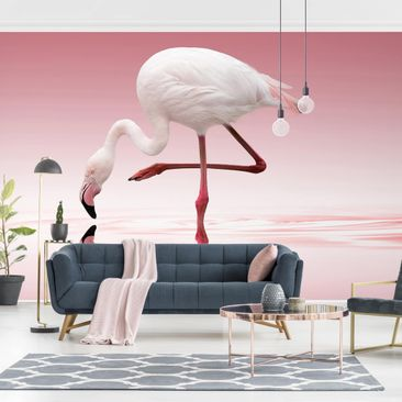 Produktfoto Tapete selbstklebend - Flamingo Dance - Fototapete Querformat