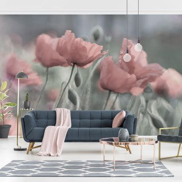 Produktfoto Tapete selbstklebend - Malerische Mohnblumen - Fototapete Querformat