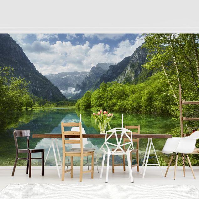 Produktfoto Tapete selbstklebend - Bergsee mit Spiegelung - Fototapete Querformat