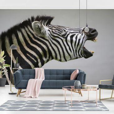 Produktfoto Tapete selbstklebend - Brüllendes Zebra - Fototapete Querformat