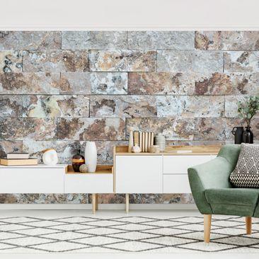 Produktfoto Tapete selbstklebend - Naturmarmor Steinwand - Fototapete Querformat