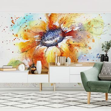 Produktfoto Tapete selbstklebend - Painted Sunflower - Fototapete Querformat