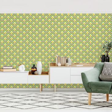 Produktfoto Tapete selbstklebend - No.TA99 Retromuster Grün-Gelb - Fototapete Querformat