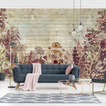 Produktfoto Tapete selbstklebend - Vintage Blumen Holzoptik - Fototapete Querformat