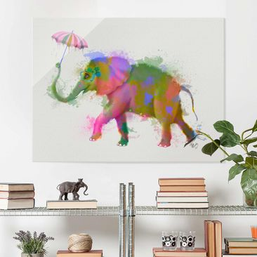 Produktfoto Glasbild - Regenbogen Splash Elefant - Querformat 3:4