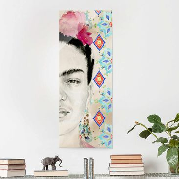 Product picture Print on Glass - Frida With Pink Flowers...