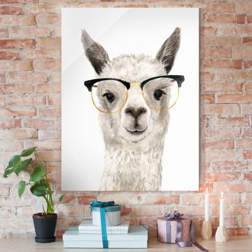 Produktfoto Glasbild - Hippes Lama mit Brille I - Hochformat 4:3