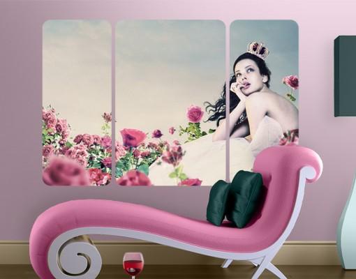Produktfoto Selbstklebendes Wandbild Frau im Rosenfeld Triptychon II