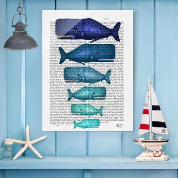 Produktfoto Glasbild - Tierlektüre - Walfamilie - Hochformat 4:3