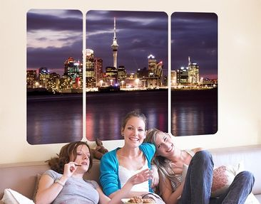 Produktfoto Wall Mural Auckland At Night Triptych II