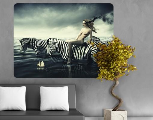 Produktfoto Selbstklebendes Wandbild Frauenakt mit Zebras