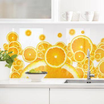 Produktfoto Küchenrückwand - Retro Orange Pattern vergrößerte Ansicht in Wohnambiente Artikelnummer 235910-XWA