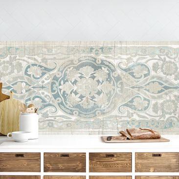 Produktfoto Küchenrückwand - Holzpaneel Persisch Vintage IV vergrößerte Ansicht in Wohnambiente Artikelnummer 235977-XWA