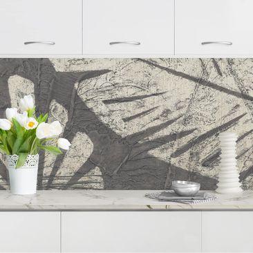 Produktfoto Küchenrückwand - Palmenblätter vor Dunkelgrau vergrößerte Ansicht in Wohnambiente Artikelnummer 236003-XWA