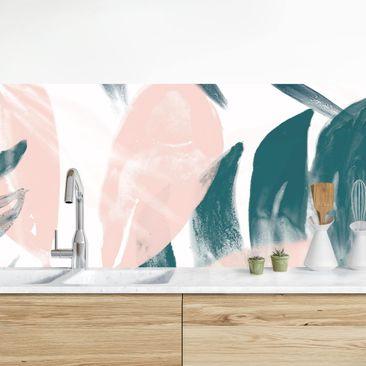 Immagine del prodotto Rivestimento cucina - Foglie tropicali rosa e petrolio II