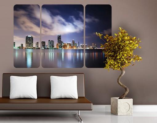 Produktfoto Selbstklebendes Wandbild Miami bei Nacht Triptychon II