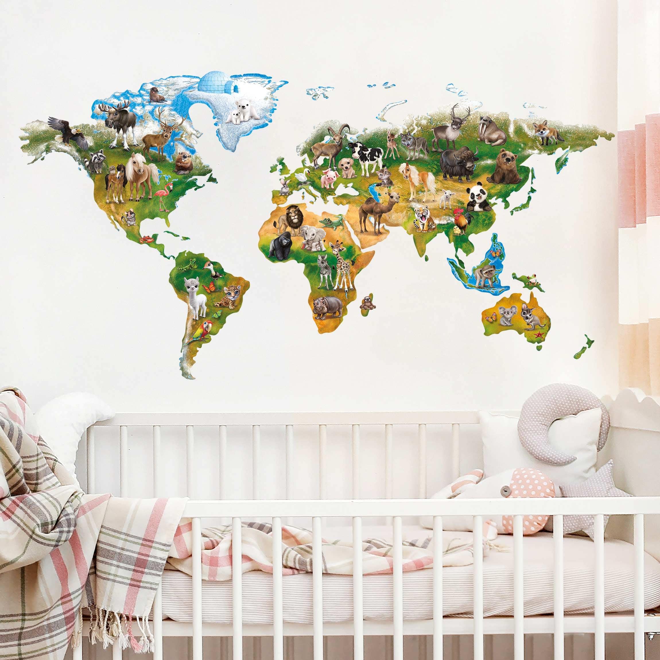 Wandtattoo Kinderzimmer Animal Club International Weltkarte Mit Tieren