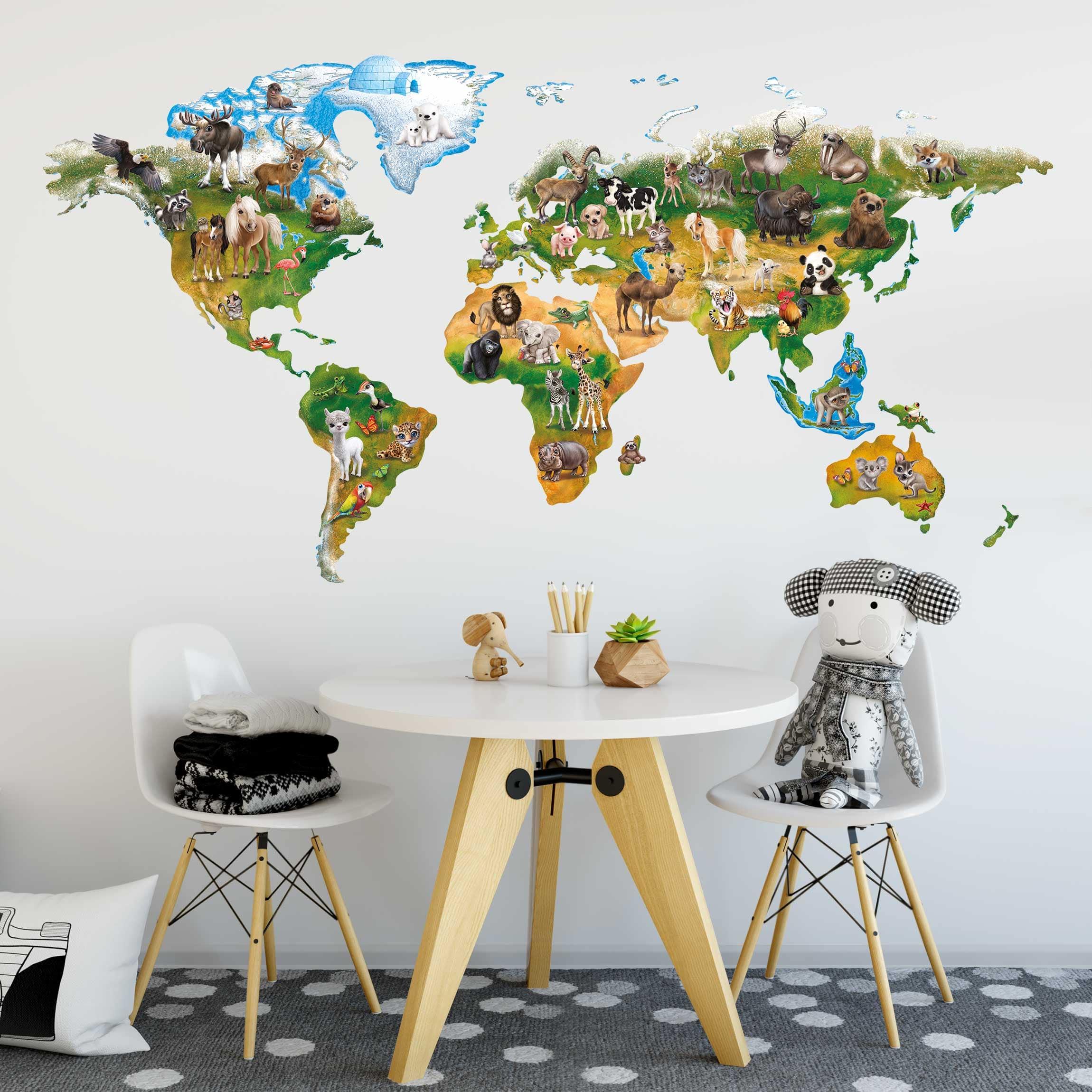 Wandtattoo Kinderzimmer Animal Club International Weltkarte