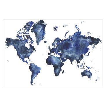 Immagine del prodotto Carta da parati mappamondo - Mappa del mondo blu su bianco