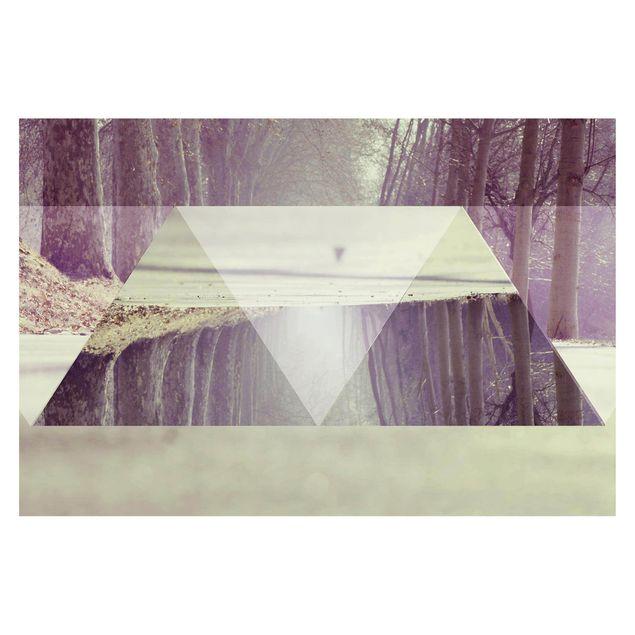 Produktfoto Tapete selbstklebend - Geometrie trifft Waldweg - Fototapete Querformat