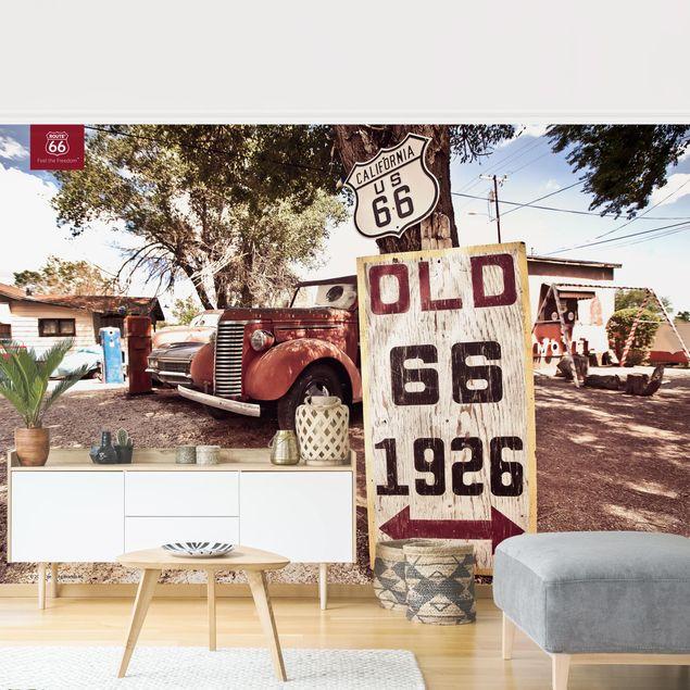 Produktfoto Tapete selbstklebend - Route 66 - Alter Pick-up - Fototapete Querformat