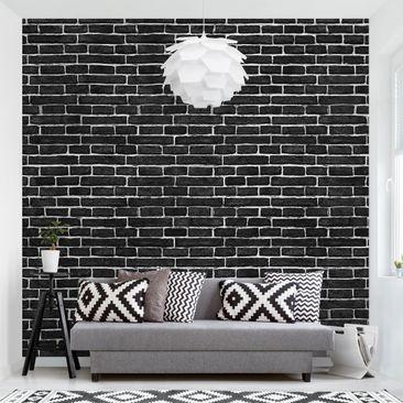 Produktfoto Tapete selbstklebend - Backsteinwand schwarz - Fototapete Quadrat