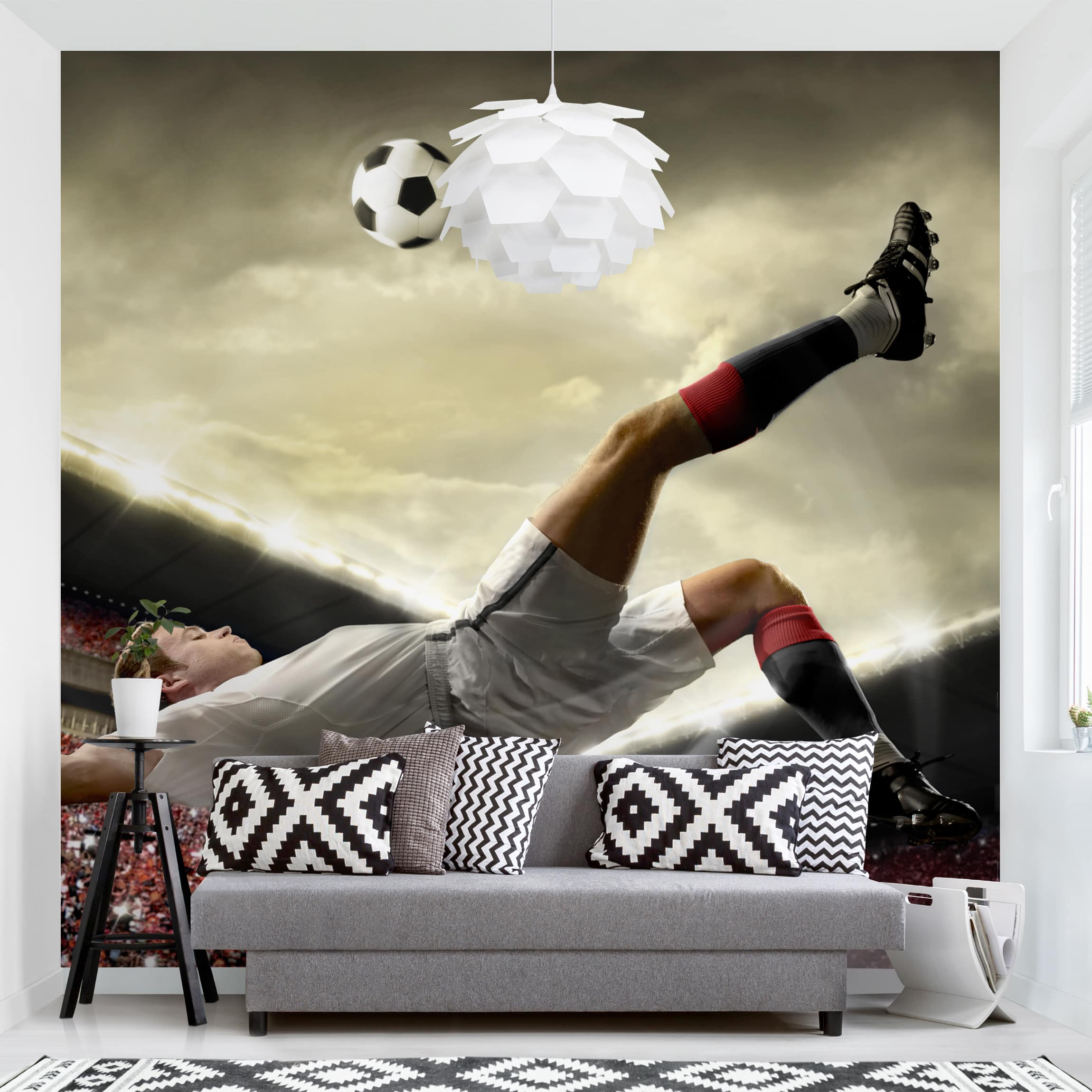 Tapete selbstklebend - Fußball Action - Fototapete Quadrat