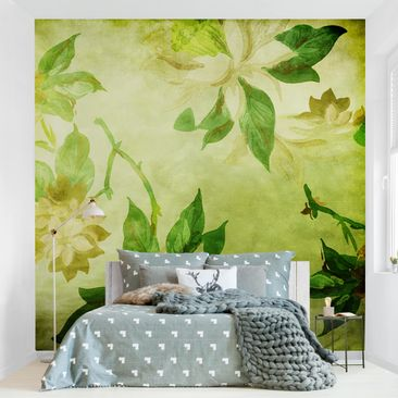Product picture Photo Wall Mural - Green Blossoms -...