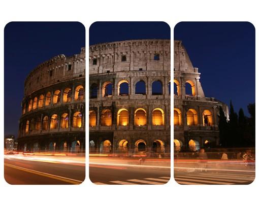 Produktfoto Selbstklebendes Wandbild Colosseum in Rom bei Nacht Triptychon I