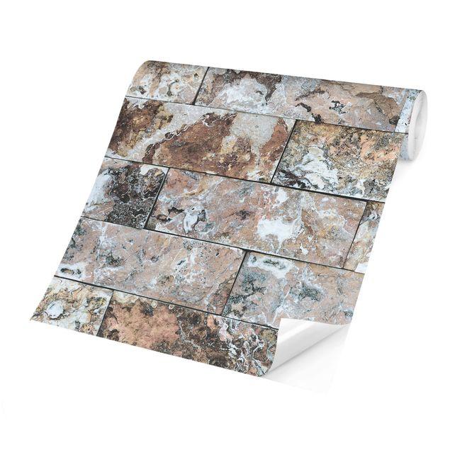 Produktfoto Tapete selbstklebend - Naturmarmor Steinwand - Fototapete Quadrat
