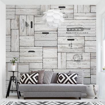 Produktfoto Tapete selbstklebend - Shabby Holzkisten - Fototapete Quadrat
